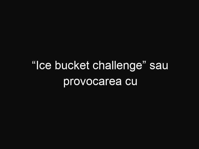 """""""Ice bucket challenge"""" sau provocarea cu găleata cu gheață"""